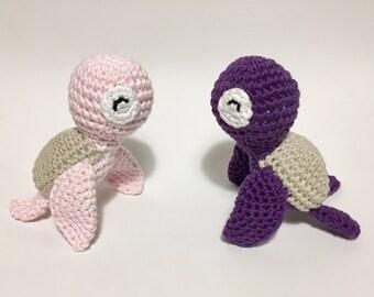 Set of 2 turtles crocheted amigurumi toy, handmade crochet toy