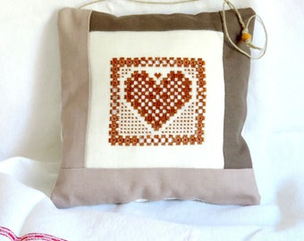heart pillow embroidered pillow case, decoration, handmade