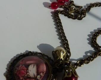 Medium red Kokeshi necklace baroque