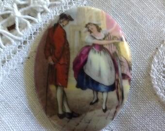 Old vintage late 20 century Limoges porcelain cabochon