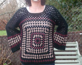 "Women crochet ""Pagoda"" black sweater"