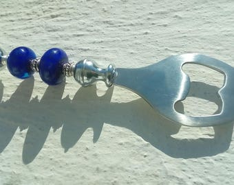 Bottle opener, decorated with handmade Lampwork Glass Beads