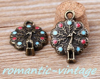 5 charms, 15 * 20 mm bronze and enamel Peacock wheel pendants