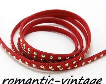 riveted suede 5mm red 98 cm (approx.)