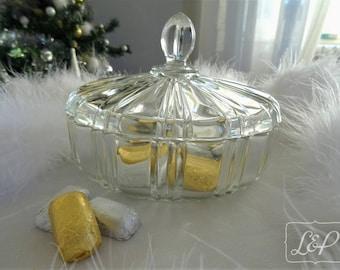Gift idea: old vintage fancy glass trinket box