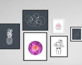 Printable Gallery Wall, Gallery Wall Prints Set, Set of 6 Prints,Instant Download,Scandinavian Posters,Ready-Made Picture Wall,Modern Prints