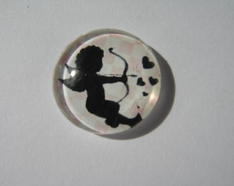 Cabochon 25 mm with an Angel and pink and white polka dots pattern