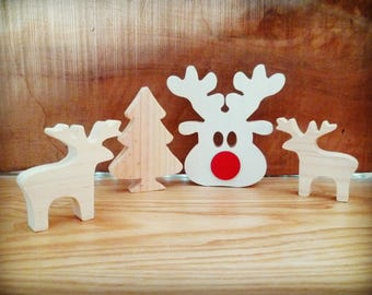 Christmas decoration, set of 4 pieces, tree decor, decoration to hang or place in raw wood, Christmas gift idea
