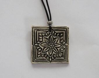 Square black print flower shape ceramic pendant