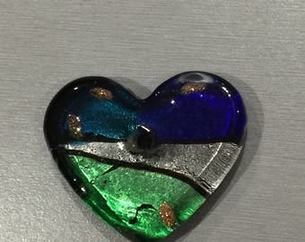 Silver Blue/Green/silver foil glass heart