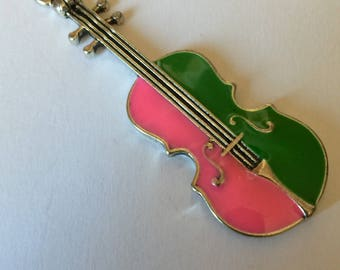 Pink violin and vet