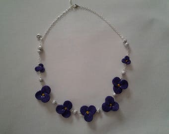 flowers of violet on silver plated chain necklace and beads