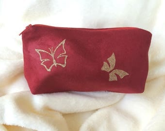 make-up butterflies patterns red suede