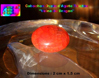 NEW! Red Orange Dragon vein Agate oval cabochon - Size: 2 cm x 1.5 cm