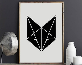 """Geometric Fox 1"" stickers"