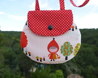 """Little Red Riding Hood"" girl in cotton bag"