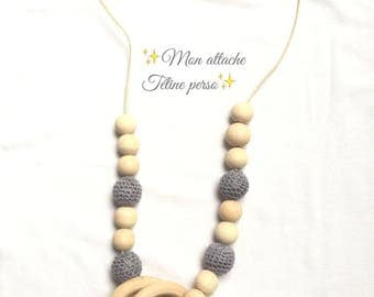 breastfeeding and Babywearing necklace ~ natural and grey pattern
