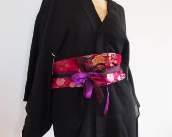 Japan: Burgundy and purple obi belt