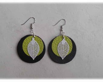 Leather - black/lime/leaf earrings white earrings