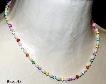 Colorful necklace with magic beads beads miracle necklace white jewelry etsy for girl child marriage anniversary ceremony