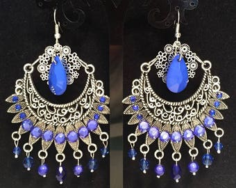 Earrings-pierced - electric blue and silver XL