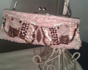 """pink style clutch """"wallet holder-"""" adorned with Pearl"""