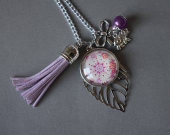 """""""Spirit Bollywood flowers"""" glass cabochon necklace on silver plated filigree leaf, tassel and bow"""