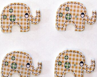 Elephant set of 10 wooden buttons: yellow - 02380