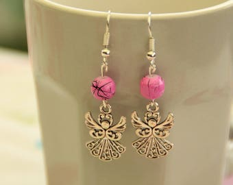Silver Angel charm with a pink pearl earrings