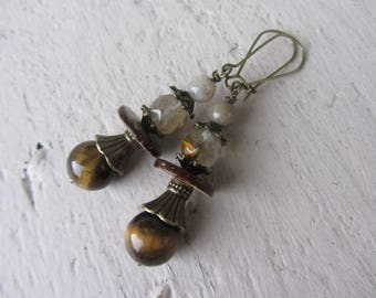 "Ethnic earrings ""nature"" fine stones (Tiger eye, quartz, agate) Brown and bronze metal"