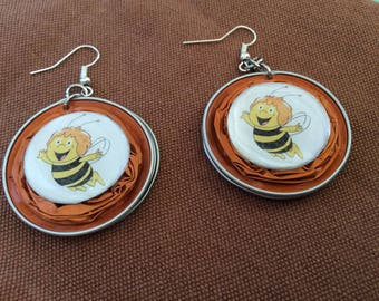 Earrings made of recycled Nespresso capsules the finest bees orange cabochon