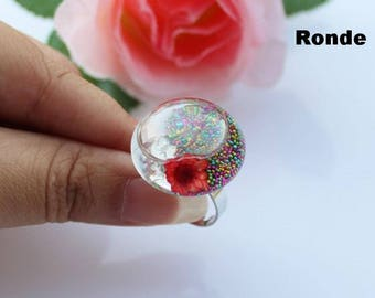 Set of 10 bubble glass 27 X 17 to fill cabochon globe ball snow + SUPPORT ring