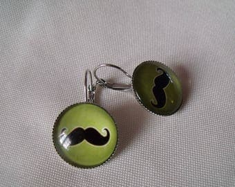LIQUIDATION earrings cabochon 20mm mustache