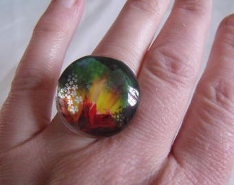 ring round flower glass cabochon