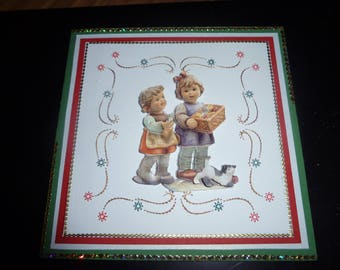 embroidered with children happy new year card