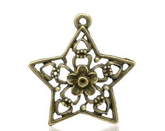 22 stars ornate bronze 30mm x 29mm