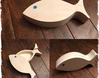 Fish shaped wooden box