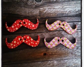 Set of 4 buttons Wood Mustache patterned 30 mm x 10 mm