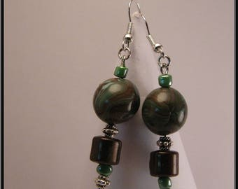Green and Brown polymer clay earrings