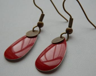 Bronze earrings dark red enamel and sequin