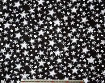 "Fabric pattern black linen/cotton blend white ""rain of stars"""