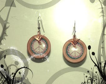 """Round earrings wooden """"Symbol of peace"""""""