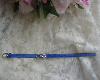 Free shipping! Blue infinity leather bracelet