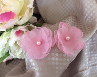 Flower 6 cm organza rose and Pearl