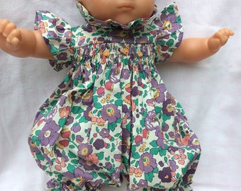 Liberty Betsy purple romper has smocking doll 36 cm