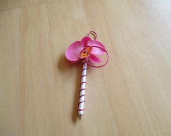 Pen for guest book, fuchsia and silver