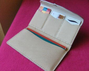 Checkbook and ecru hand stitched leather card holder
