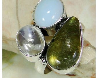 Ring in opalite, labradorite, rock crystal and 925 sterling silver trio - size 55
