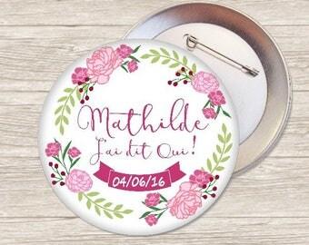 XL flower bachelorette party 7.5 cm badge / name + date-customizable