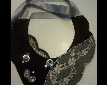 jewel collar necklace lace and rhinestones